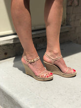 Lucite/raffia nude wedge by Michael Kors