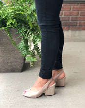 Slingback block heel peep toe sandal in kid suede (avail in black or taupe)