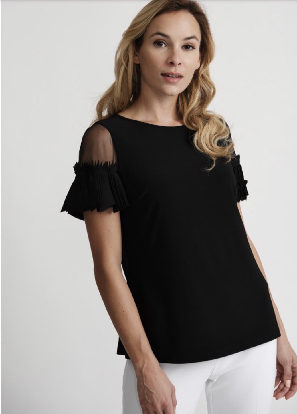 black top with sheer shoulder cut outs