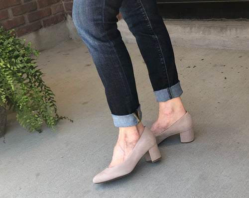 Almond toe low block heel pump (available in taupe suede or black leather)