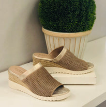 perforated suede wedge slide with metallic leather trim