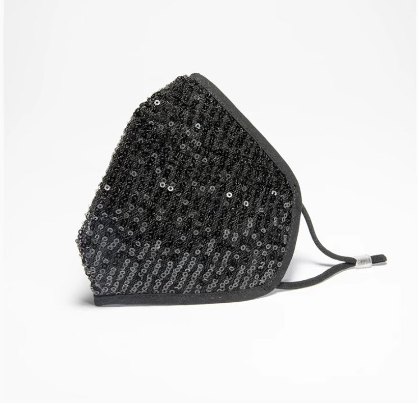 Black sequin mask with nose wire