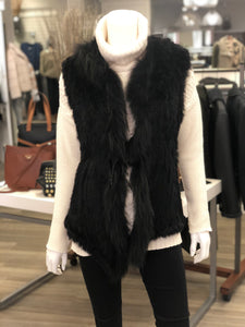 ONE LEFT! Natural furs semi fit fur vest with optional tie front