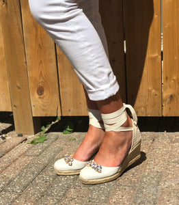 Tie wedge espadrille with embellished toe