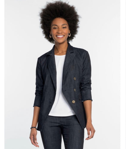 Dark denim double breasted blazer-matches dark denim ankle pant