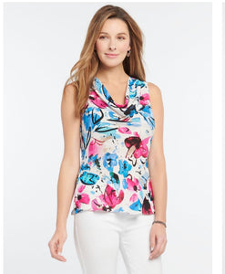 bright print drape neck tank