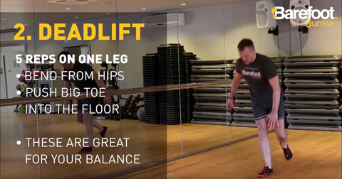 Five Exercises to strengthen your feet - 2. Deadlifts