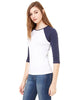 Bella Ladies' Baby Rib 3/4-Sleeve Contrast Raglan T-Shirt