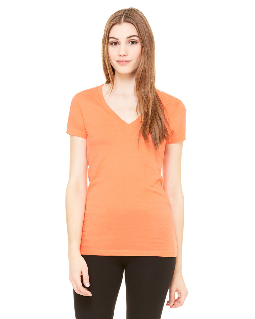 Bella Ladies' Jersey Short-Sleeve Deep V-Neck