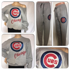 Chicago Cubs glitter 2pc sweatsuit