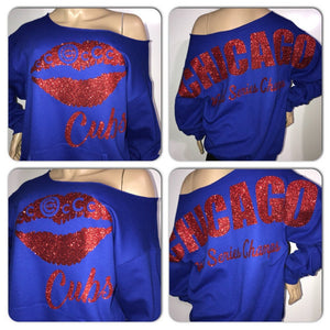 Cubs Glitter Sweatshirt | chicago Cubs | cubbies off the shoulder sweatshirt | oversized print