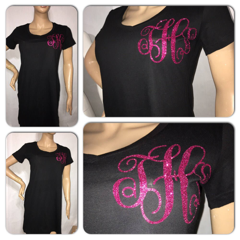 Custom Monogram tshirt dress | monogram apparel | custom ladies vneck dress