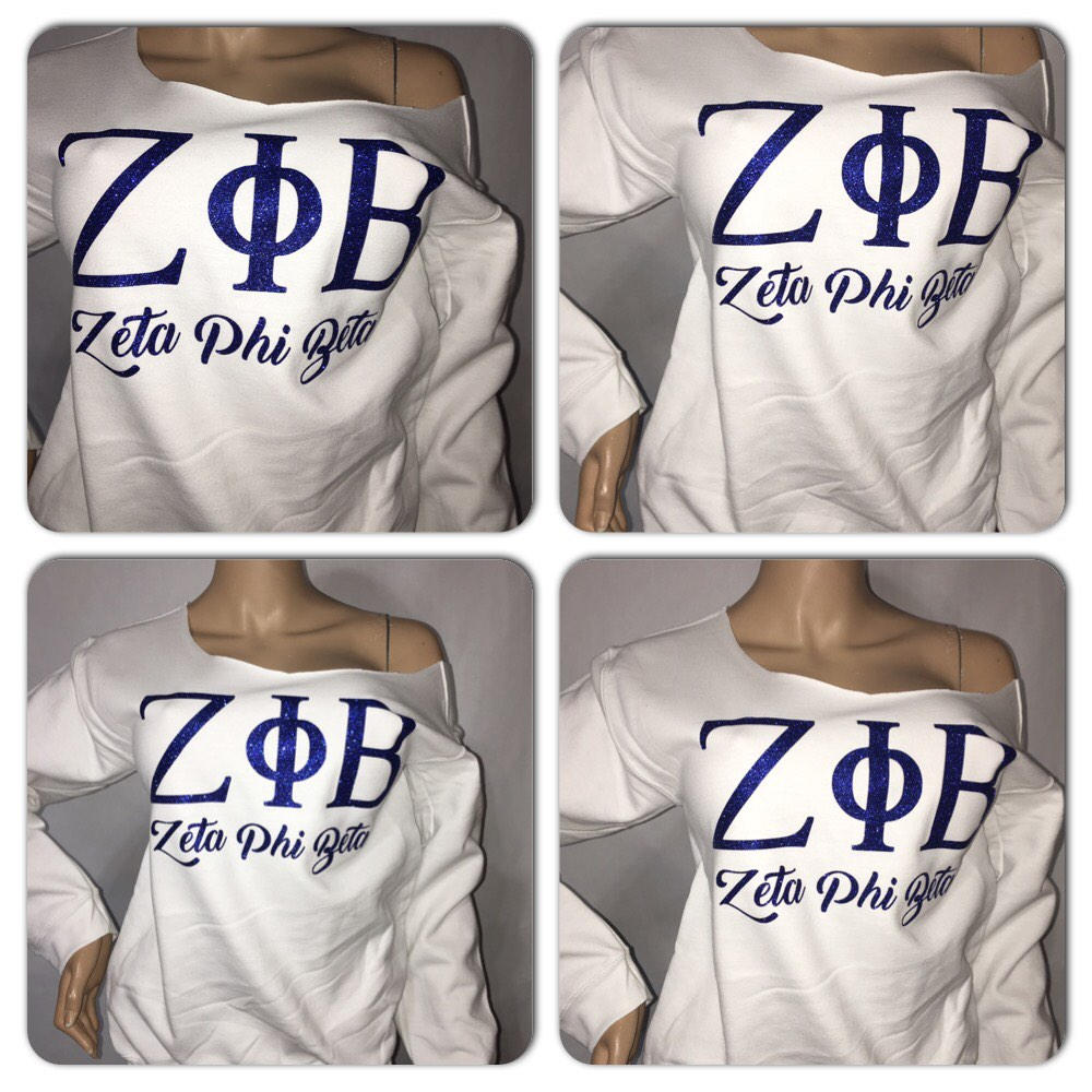 Zeta Bling Sweatshirt | zeta phi betA Glitter off the shoulder sweatshirt