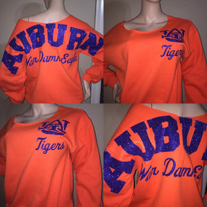 Auburn Tigers off the shoulder glitter sweatshirt