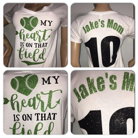 Personalized baseball glitter t-shirt