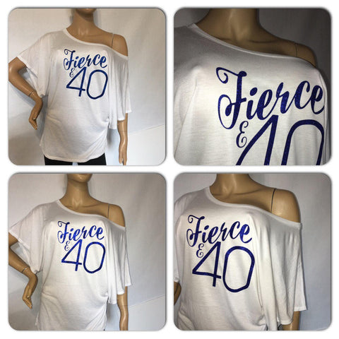 Fierce and 40 glam tee | Birthday glitter t-shirt | Customize with your birthyear