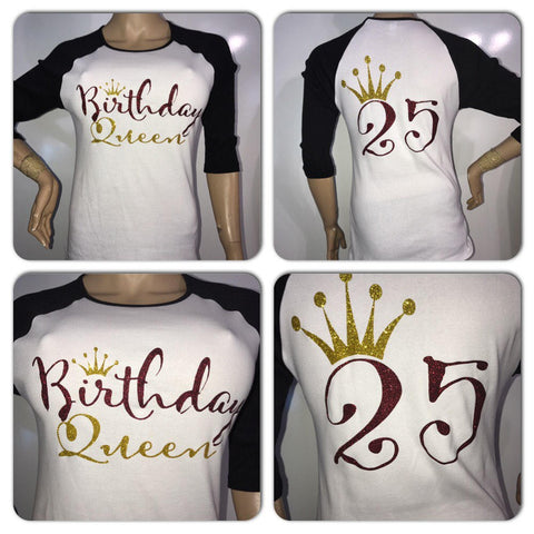 Birthday Queen glitter t-shirt | Customize with your birth year