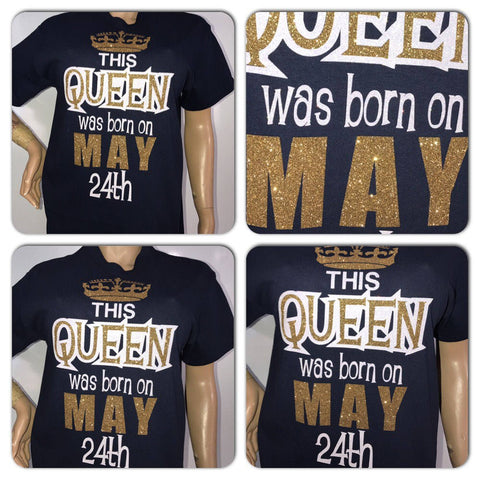 This Queen was born glitter t-shirt | Customize with your birth year
