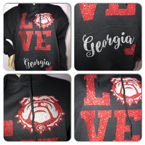 Georgia State university bling sweatshirt | Bulldogs Glitter sweatshirt | Georgia Bulldogs hoody