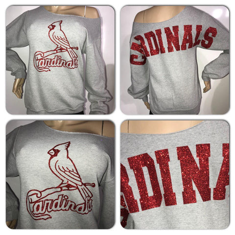 Cardinals grey bling sweatshirt | Cardinals off the shoulder sweatshirt