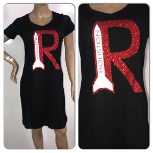 Rockets tshirt dress | Houston rockets glitter dress | NBA apparel | custom ladies vneck dress