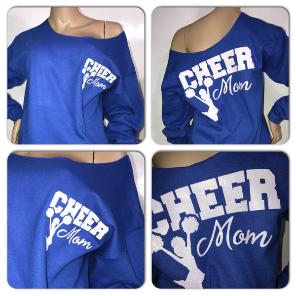 Cheer mom glitter sweatshirt