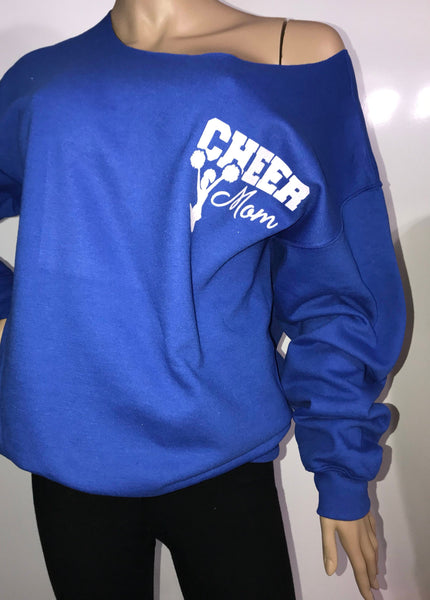 Cheer mom glitter sweatshirt | Customizable Cheer life off the shoulder sweatshirts | sports mom