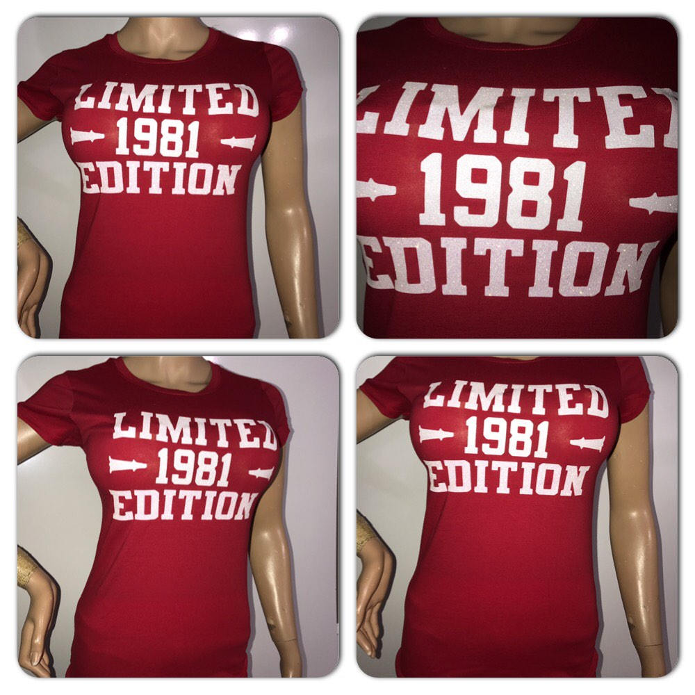 Limited Edition glam tee | Birthday glitter t-shirt | Customize with your birth year