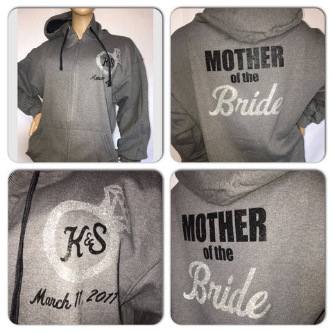Mother of the Bride or Groom monogram glitter zip up hoodies | Customize with your bridal party name, colors, date of wedding