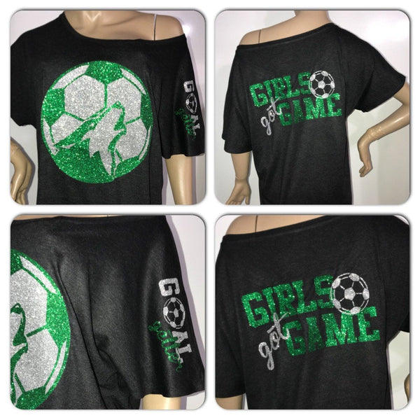 Customized Soccer Glam off the shoulder tshirt | Personalized Soccer tee