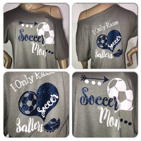 Customized Soccer Mom Glam off the shoulder tshirt | Personalized Soccer tee