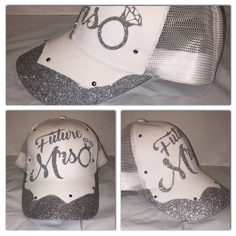 Bridal glitter trucker hat