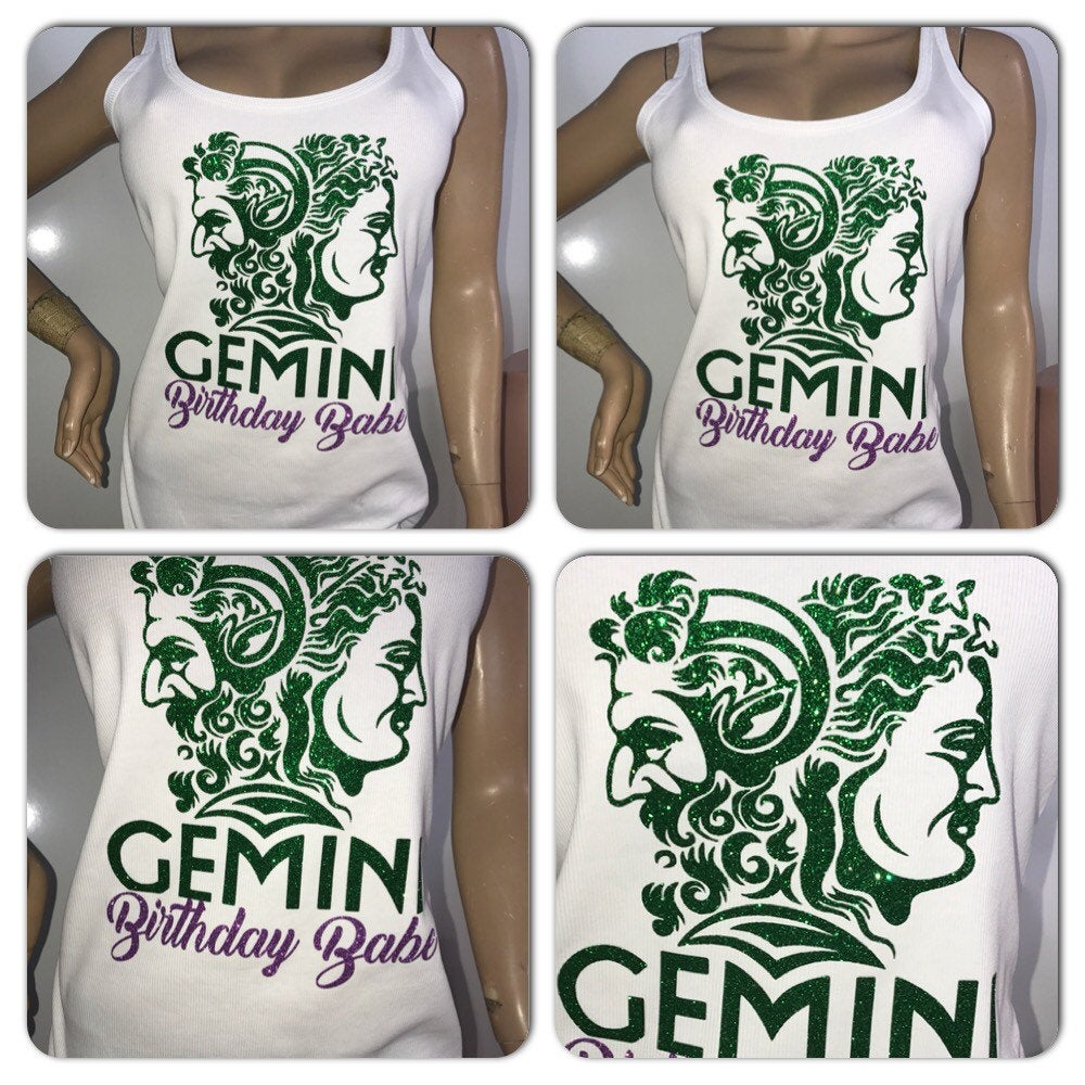 Gemini Birthday Babe glitter t-shirt | Customize with your colors