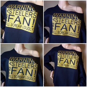 Steelers Fan Off the shoulder sweatshirt | Game Day Sweatshirt | Custom Team Sweatshirt