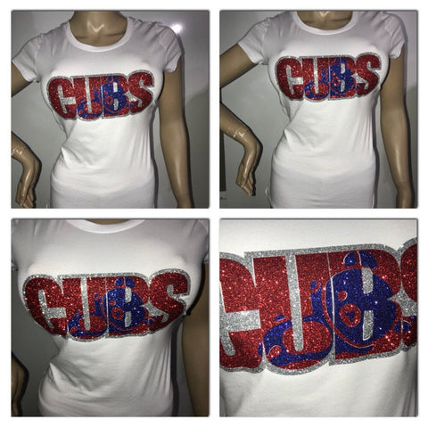 Cubs Glitter T-shirt | chicago Cubs | cubbies shirts