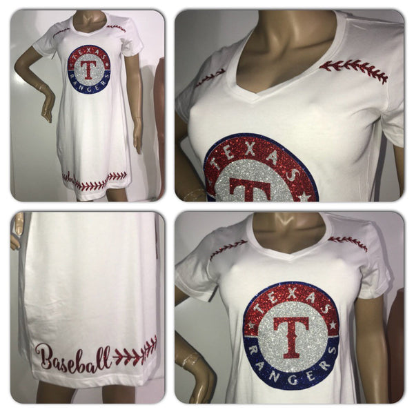 Rangers tshirt dress | Texas Rangers glitter dress | MLB apparel | custom ladies vneck dress