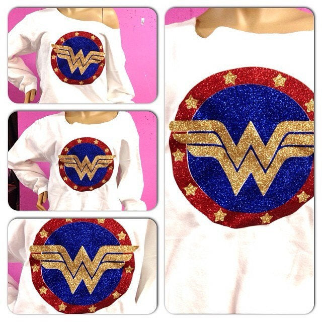 Wonder Woman Sweatshirt | Glam superhero Glitter sweatshirt | Glitter off the shoulder
