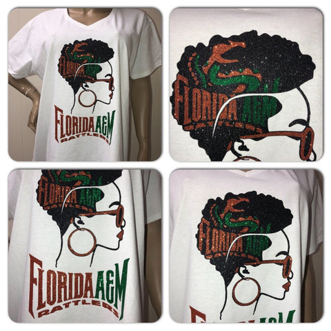 Famu Head glitter tshirt | University of Florida | Rattlers | Famu rattlers