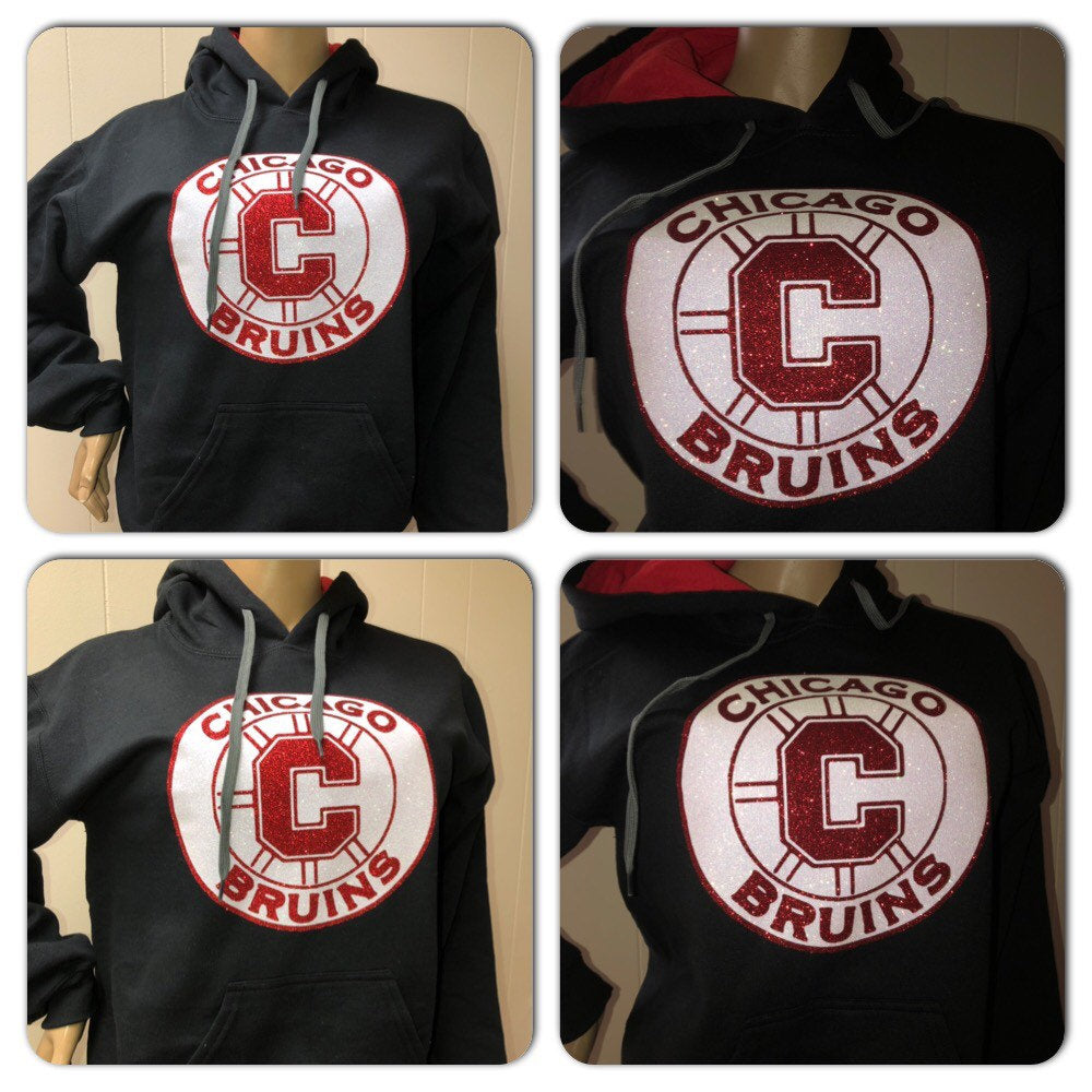 Chicago Bruins Hockey Glam Glitter Hoody Sweatshirt | Hockey mom | NHL
