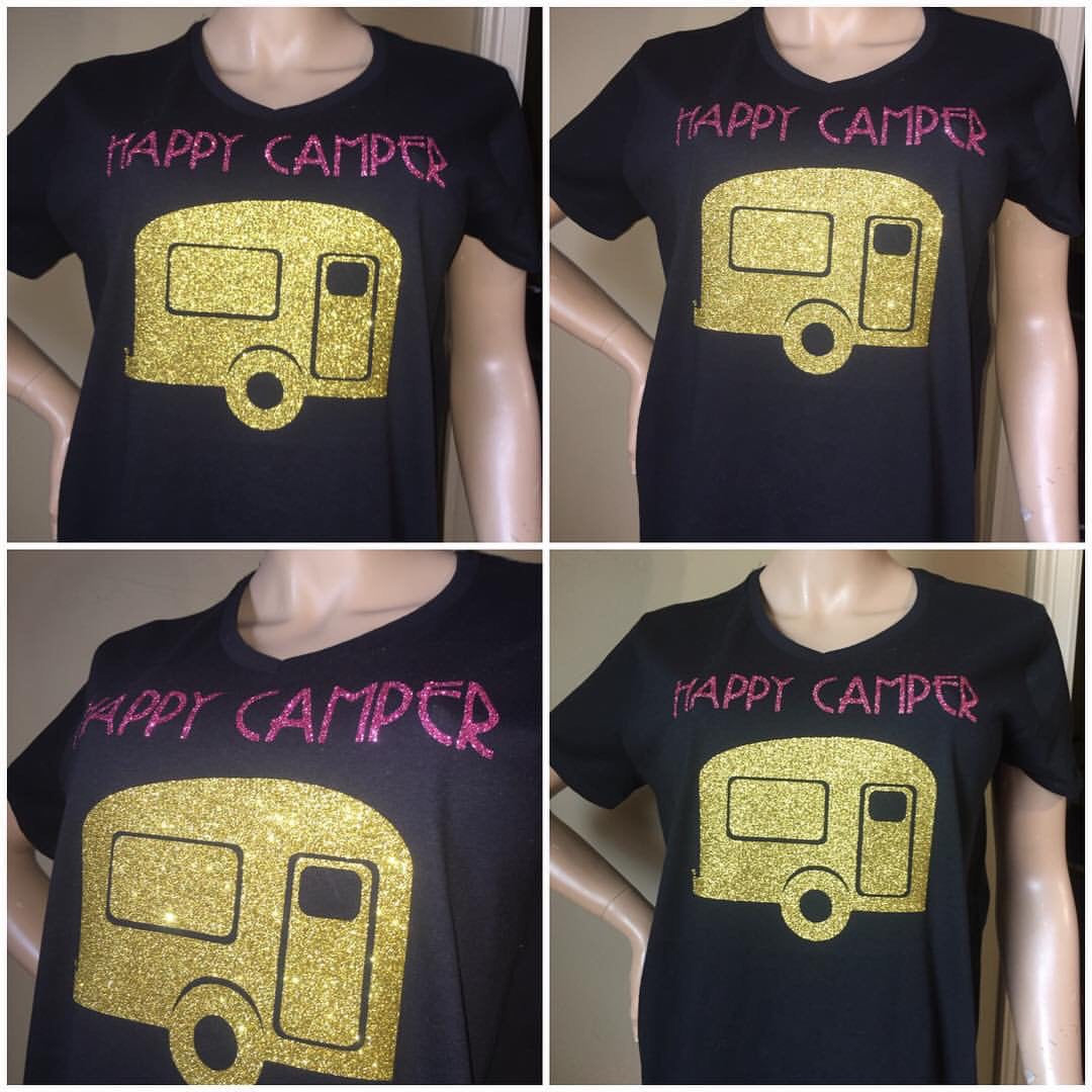Happy Camper Glam off the shoulder tshirt | Camping tees