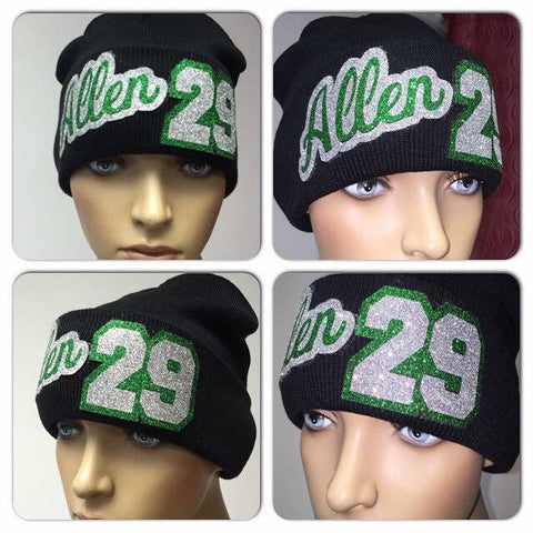 Personalized Bling Beanie | Custom Name Glitter Hat   | Glitter skully