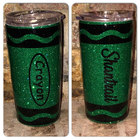 Personalized Crayon Glam Tumbler | Glitter tumblers