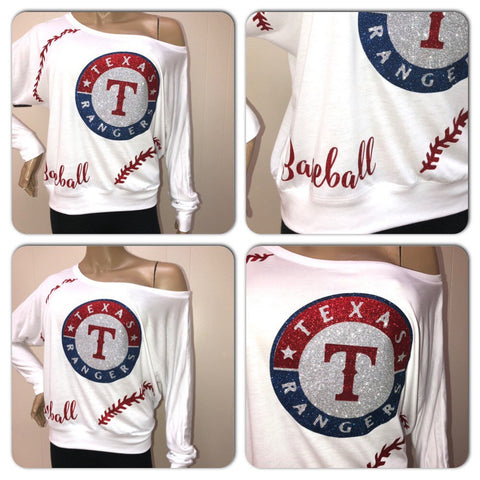 Rangers Glam Off the shoulder tee | Texas Rangers glitter shirt | MLB apparel | custom ladies baseball shirt