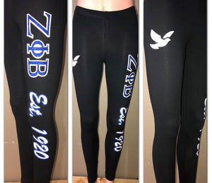 Zeta Phi Beta Dove glitter leggings | Dove glam leggings | Sorority Glam