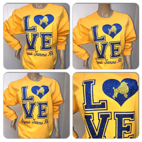 Sigma Gamma Rho LOVE bling sweatshirt | Pretty Poodles Glitter sweatshirt