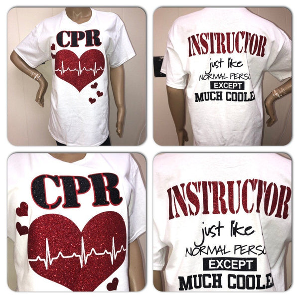 CPR Instructor Glam Tee | CPR Glitter t-shirt