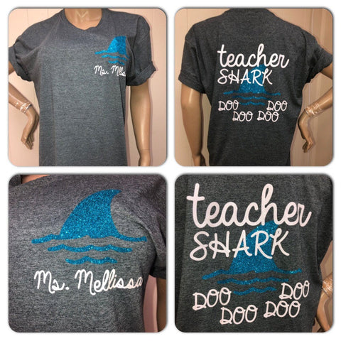 Teacher Shark Glam Tee || Teacher Gifts || Back to school || Spirit Wear