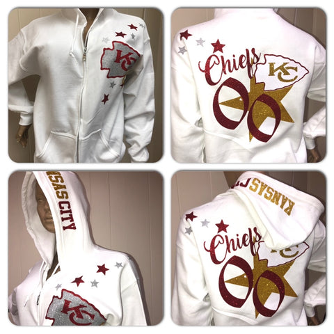 Chiefs White Zip up Hoody Sweatshirt