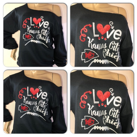 Chiefs Love Off the Shoulder Sweatshirt