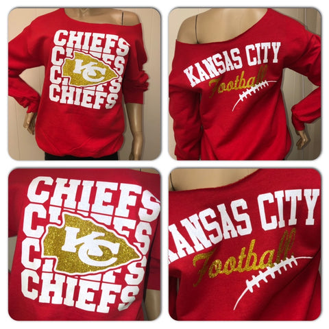 Chiefs RED Off the Shoulder Sweatshirt